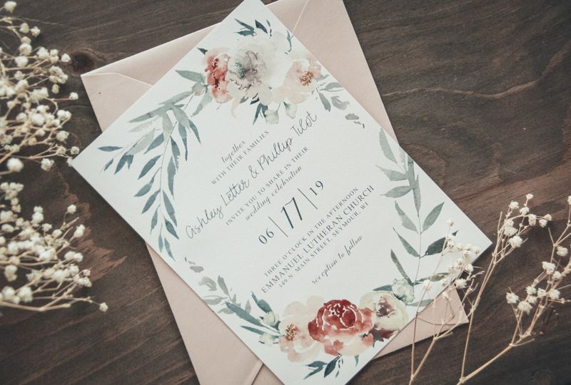 Blush Floral Wedding Invite