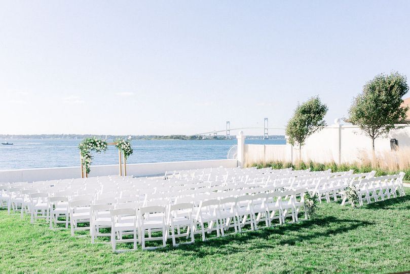 Waterfront lawn ceremony setup