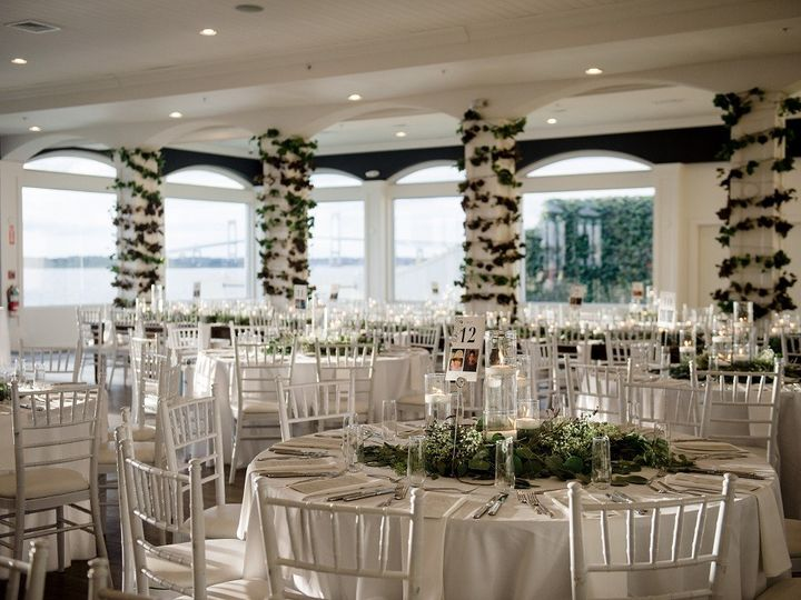 Tmx Belle Mer Island House Greenery On White Tables Vines On Columns Trevor Holden Photography 51 43700 158464456922532 Newport, RI wedding venue