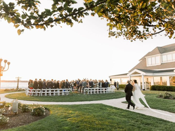 Tmx Belle Mer Island House Lawn Ceremony Bride Walking In Molly Anne 51 43700 158464436381228 Newport, RI wedding venue