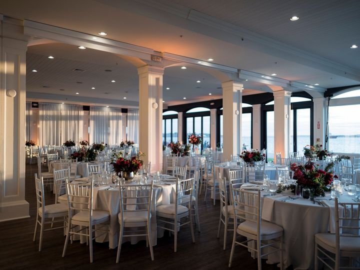 Tmx Belle Mer Island House Reception Set Up With Deep Red Florals Snap Photography 51 43700 158464443661817 Newport, RI wedding venue