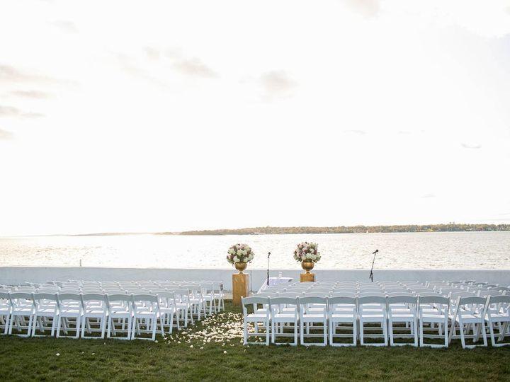Tmx Belle Mer Salon Lawn Ceremony Gold Pillars Angled Shot M Studios 51 43700 158464455011678 Newport, RI wedding venue