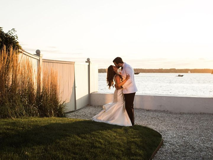 Tmx Belle Mer Salon Lawn Couple Kissing With Sunsetting Will And D Photography 51 43700 158464438967332 Newport, RI wedding venue