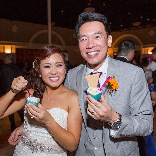 Newlyweds enjoying iced desserts