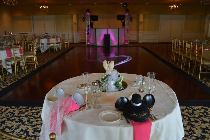 A look our setup in the North Room of the Dutchess Manor in Beacon, NY.  Two hearts being projected...