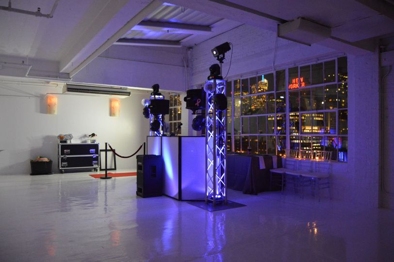 A look at our sound & light system with the photo booth to our side at Studio 450 in Manhattan, NY....