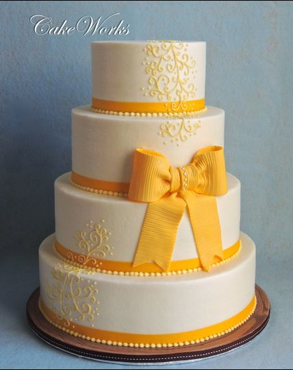 yellow roses and bow no topper w