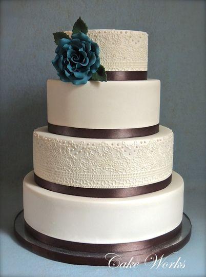 sugarveil brown ribbon wedding cake wm