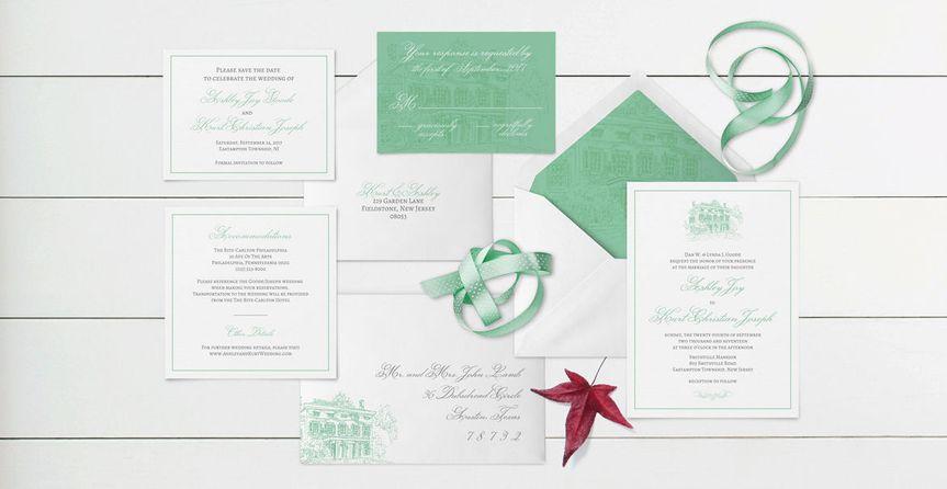 Sample classic wedding invitation suite design