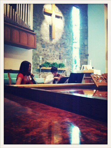 String duo playing the processional, May 2011