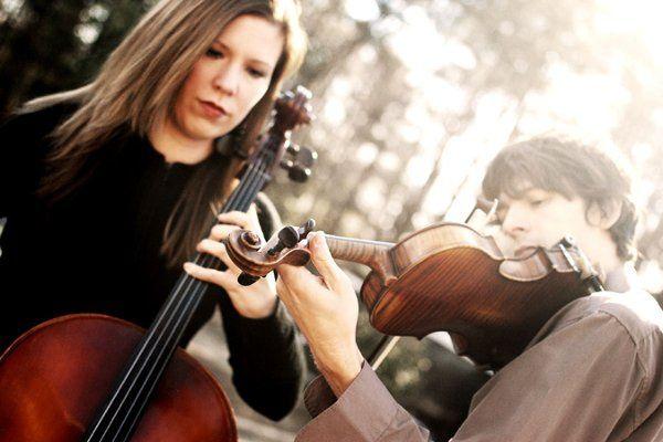 Rebekah Caulk, Gabriel Leonhard. The Wedding Musicians string duo.