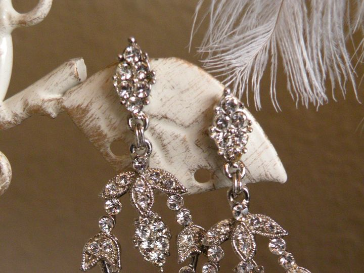 Tmx 1418237456875 Rhinestone Floral Earrings Disney C Tampa wedding dress