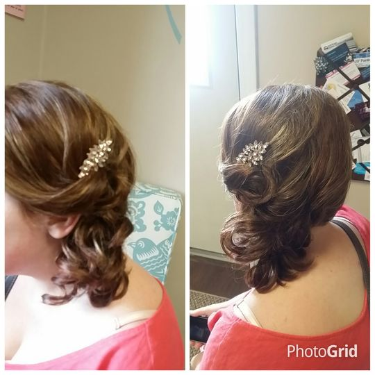 Details of updo and hair pin