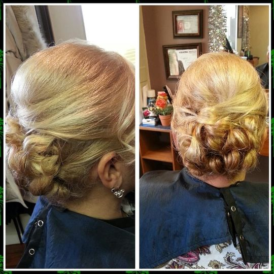 Back and side details of updo