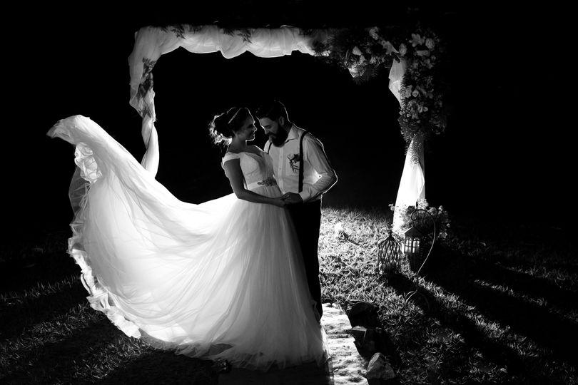 Nighttime wedding shot