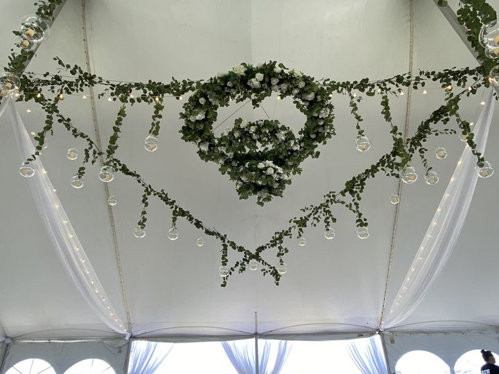 Floral Chandelier, Glass Orbs