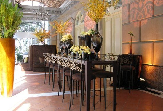 Gold Fanfare stools with Chocolate Suede cushions