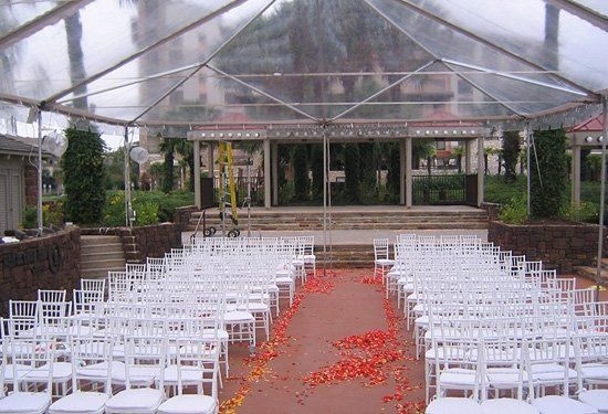 Clear frame tent with White Chivari chairs