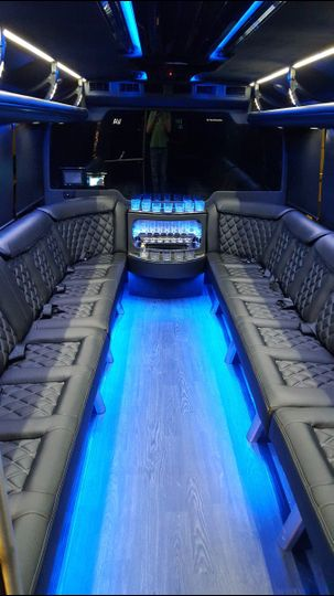 Sleek black seats with blue lights