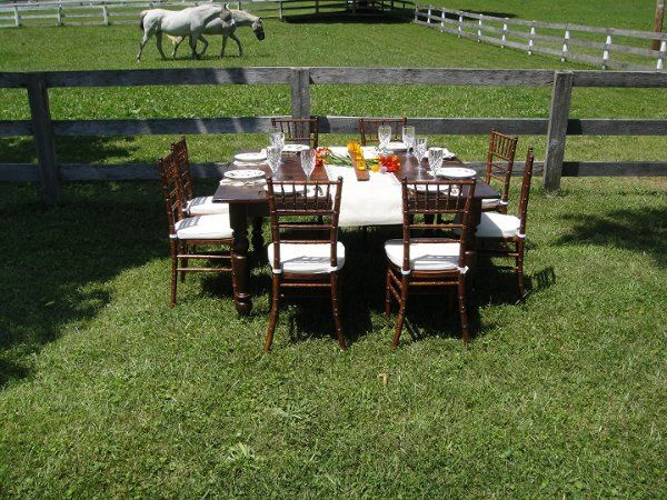 Our Beautiful 5' Square Farmhouse Table In A Lovely Setting!