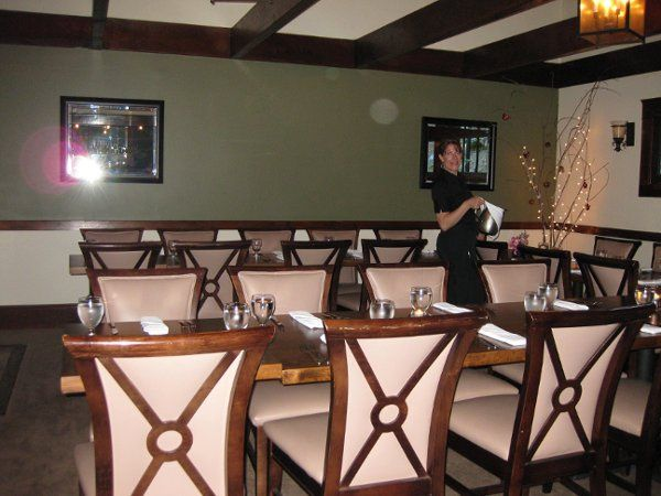 We can seat up to thirty people around our beautiful tables in our back dining room
