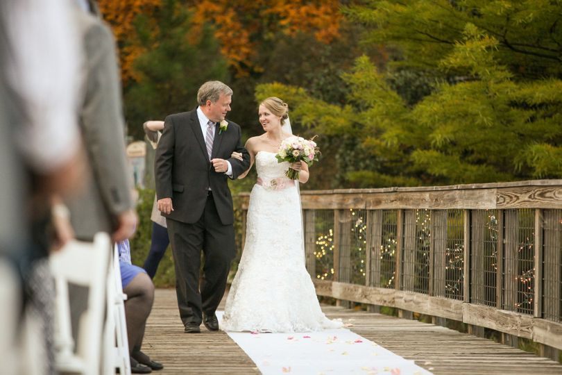 Processional entrance to the Discovery Center Bridge for a ceremony