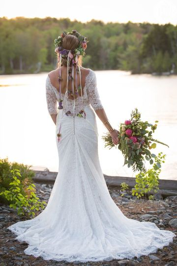 Bridal dress by the lake