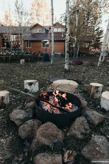A fireside wedding reception