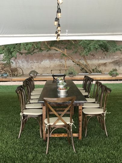 Farm tables and X-back chairs