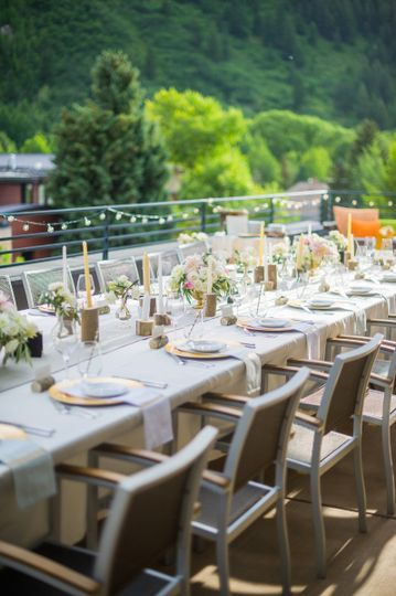 Ajax Terrace at Limelight Hotel features sweeping mountain views of Aspen and the surrounding...