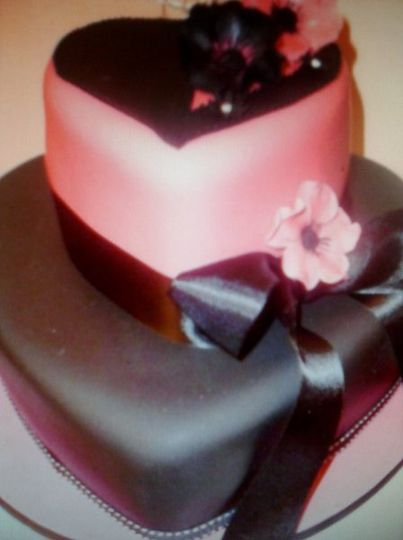 Pink and Black Heart Cakes