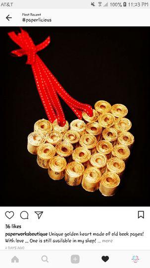 Paper favor - Chinese wedding - golden heart.