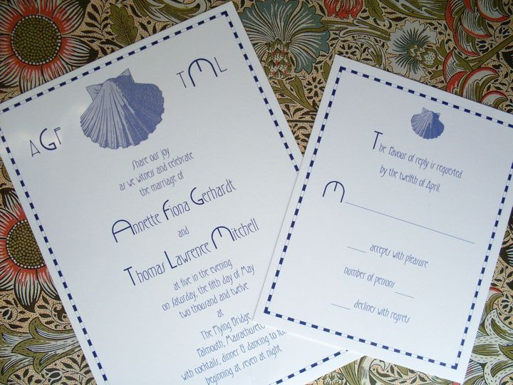 This periwinkle blue scallop shell invitation suite is perfect for your Cape Cod wedding.