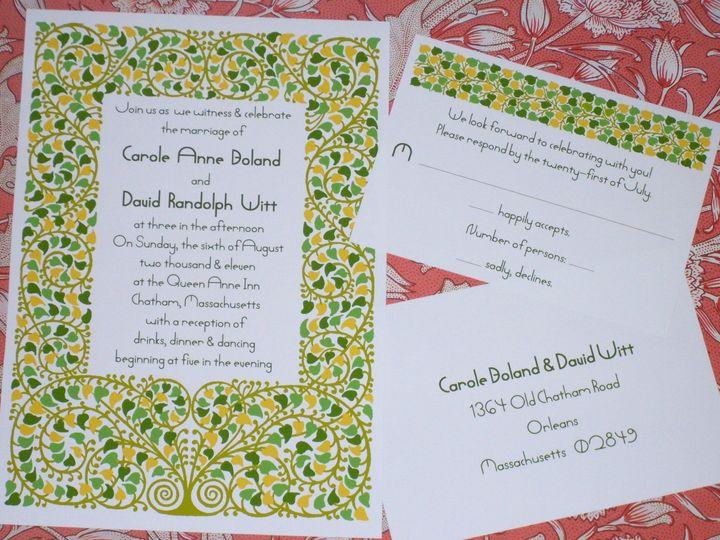 Tmx 1445470492154 Art Nouveau Green Leaves Invitations  Reply Card Harwich, MA wedding invitation