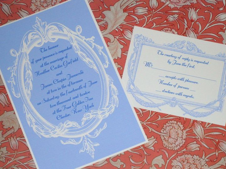 Tmx 1445531234432 Edwardian Blue Invitation And Reply Harwich, MA wedding invitation
