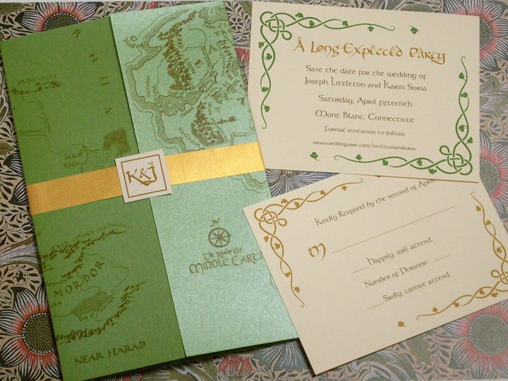 Tmx Middle Earth Map Lotr Invitation Reply Std 51 120010 Harwich, MA wedding invitation
