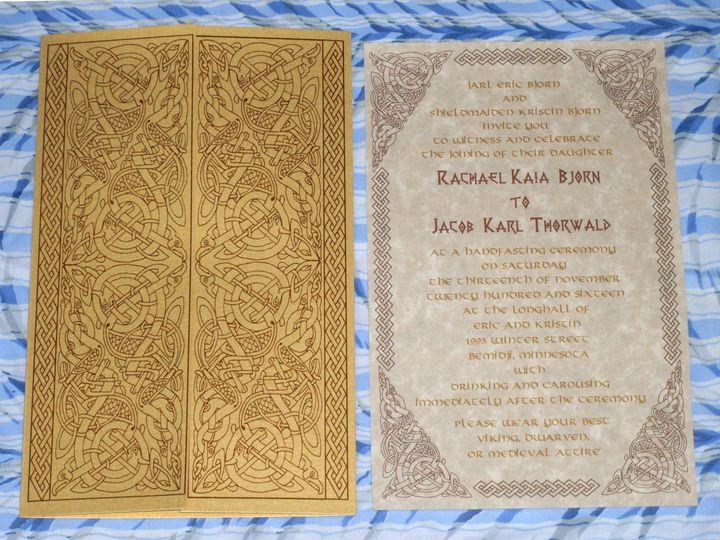 Tmx Viking Invitation Valhalla Gate 51 120010 Harwich, MA wedding invitation