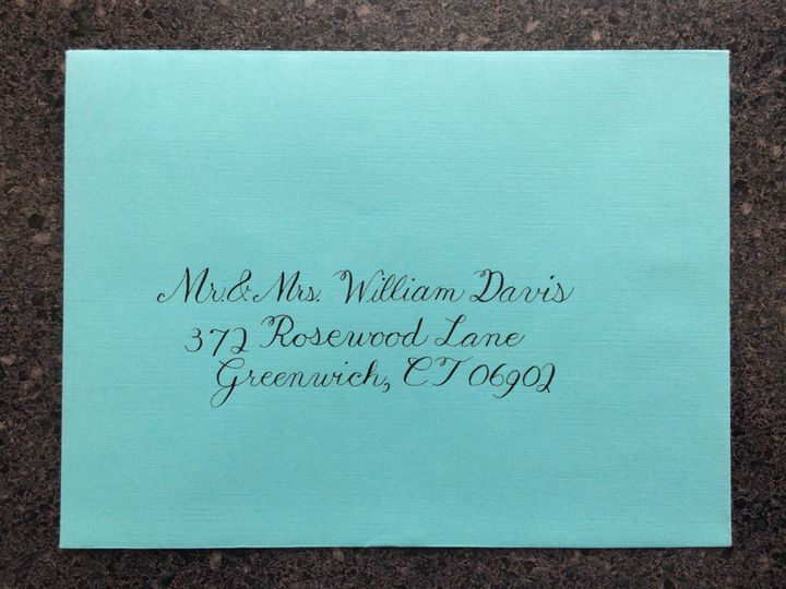 Invitation outer envelope addressed in formal Copperplate calligraphy