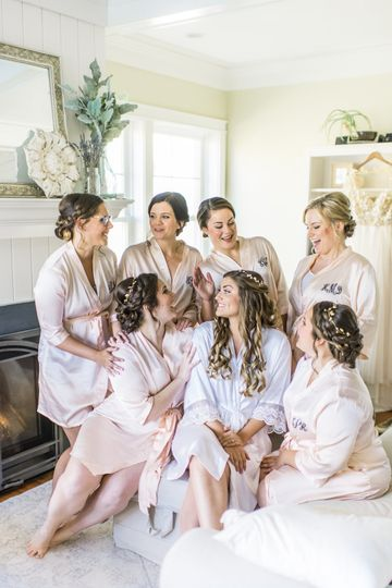 Getting ready with her bridesmaids