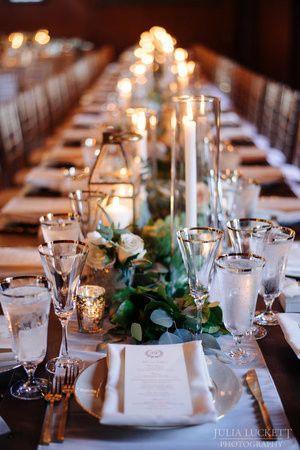 Candlelit dining setup