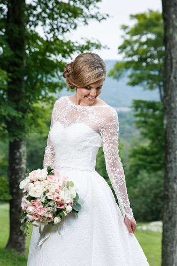 Bride in a sleeved lace dress