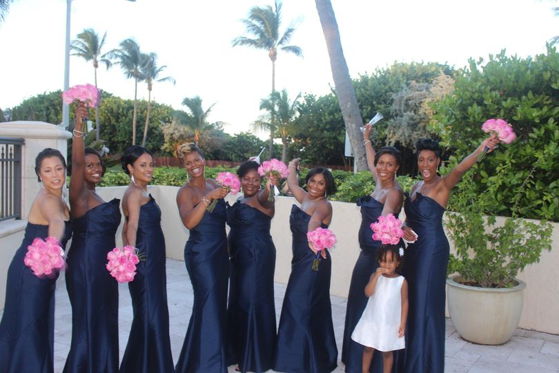 Bridesmaids and the flower girl