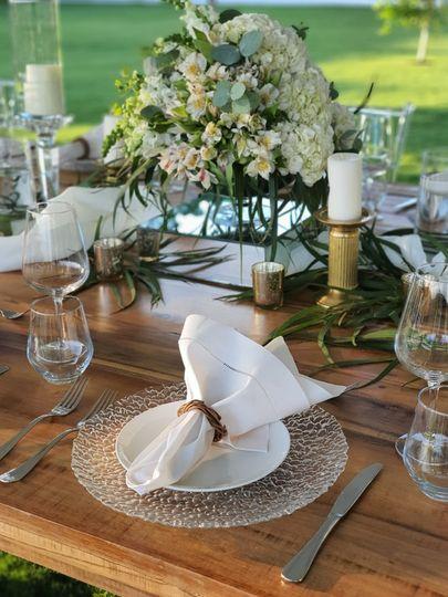 Outdoor dinner, & wood tablel