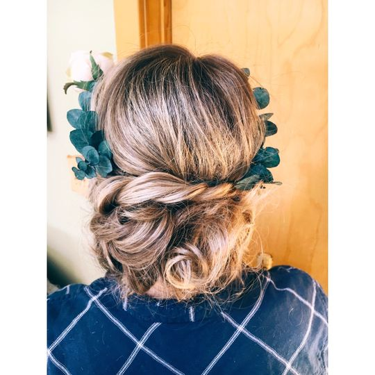 Low updo with accessories