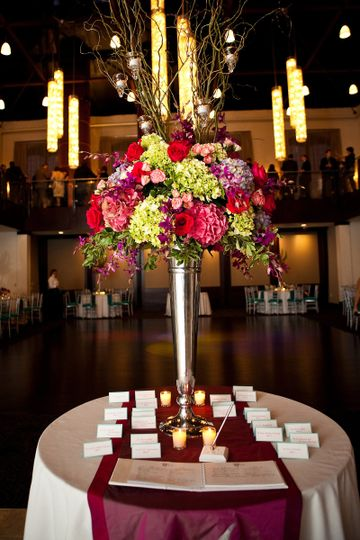 Table cards and raised centerpiece