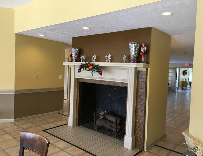 Christmas-Greens Room-fireplace