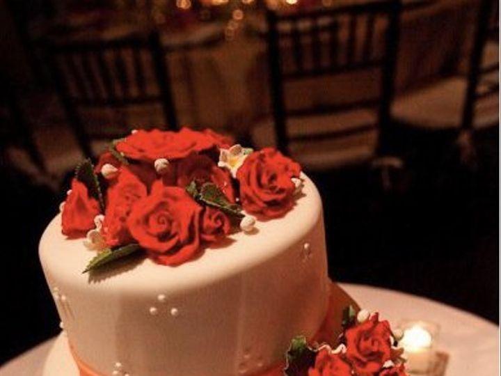 Tmx 1284423982906 Orangeribbonredroses Bronx wedding cake