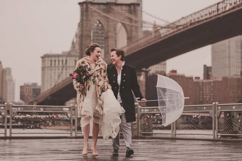 Two brides getting married in Brooklyn on a winter-rainy day- and happy as can be!