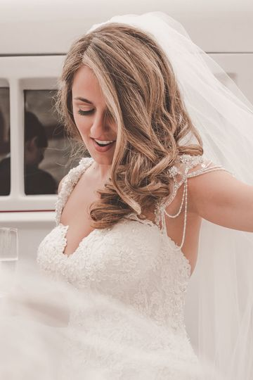Candid Moment of Bride getting her veil fluffed