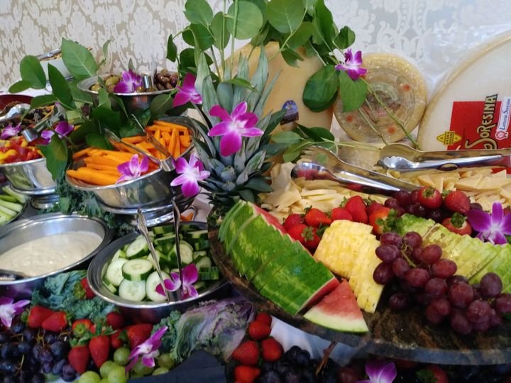 Beautiful fruit, cheese and veggie crudite displays for your cocktail hour
